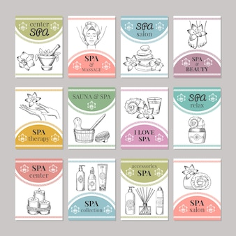 Template of different cards for spa salon or cosmetic center. spa and beauty salon card.  illustration