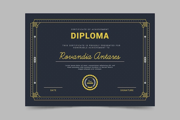 Template for diploma certificate