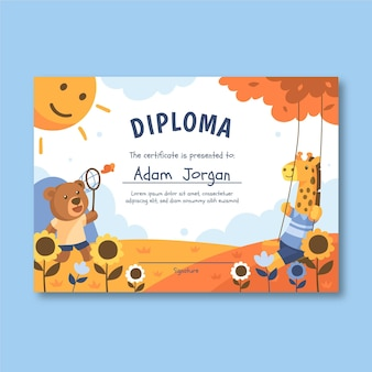 Template for diploma for kids