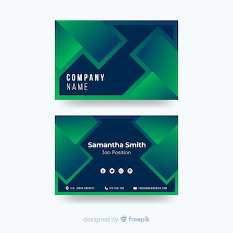 Template duotone gradient shapes business card
