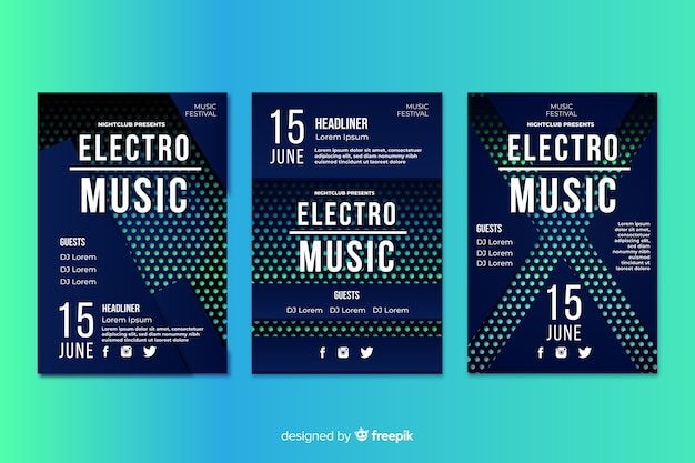テンプレート電子音楽抽象的なポスター