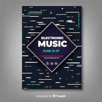 Template electronic music poster with glitch effect