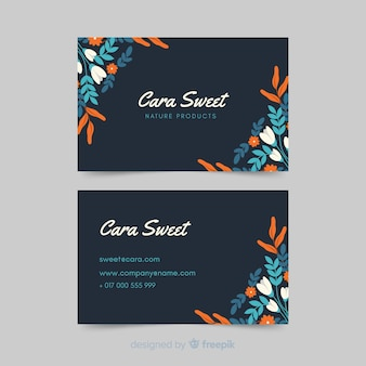Template elegant business card with floral design