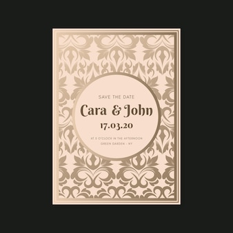 Template elegant damask wedding invitation