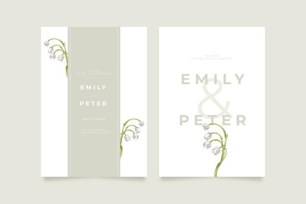 Template elegant minimalistic floral wedding invitation