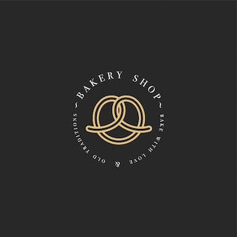 Template and emblem - pretzel bake icon for bakery. sweet shop.