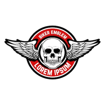 Template of the emblem of racer club. skull with wings.  element for logo, label, badge, sign.  illustration