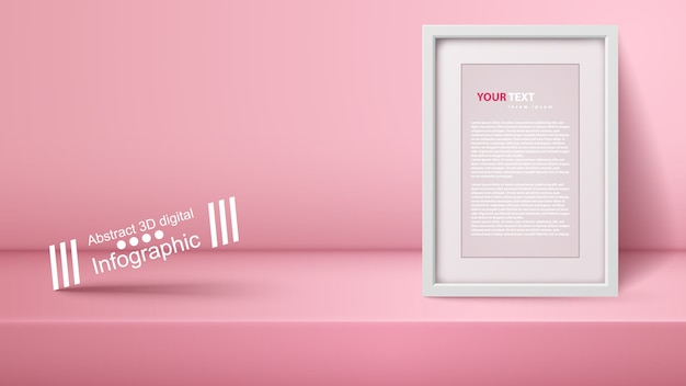 Template empty pink studio, photostudio, room