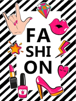 Template for fashion with stylish patch badges.