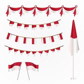 Шаблон флага день независимости индонезии размахивая лентой баннер коллекция шаблонов