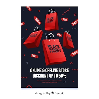 Template flat black friday flyer