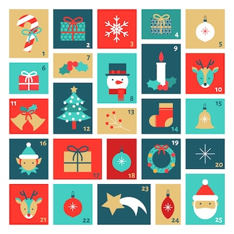 Template flat design advent calendar