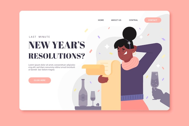 Template flat new year landing page