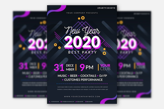 Template flat new year party flyer
