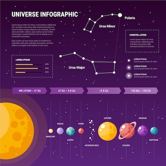 Template flat universe infographic