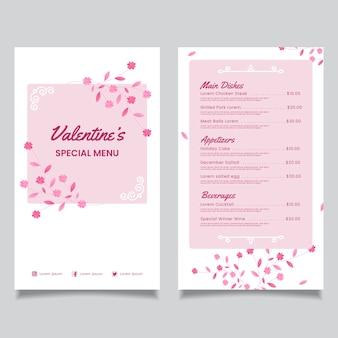 Template flat valentine's day menu