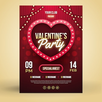 Template flat valentine's day party flyer