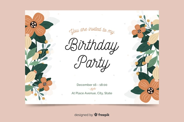 Template floral birthday invitation