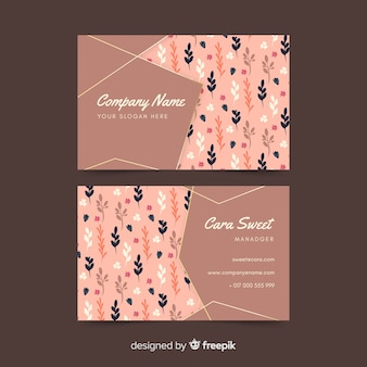 Template floral business card with golden accents