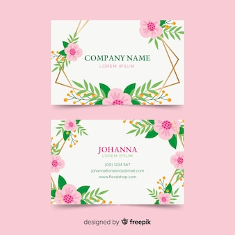 Template floral business card with golden lines