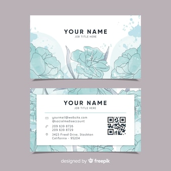 Template floral watercolor business card