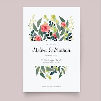 Template floral wedding invitation
