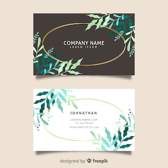 Template floral with golden lines business card