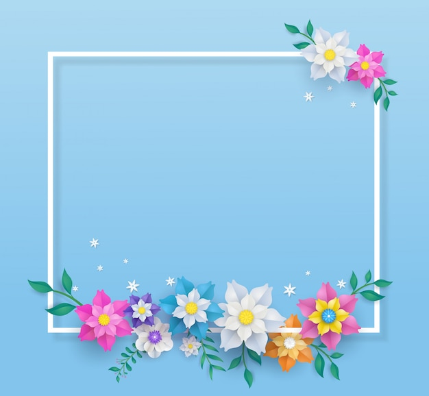 Template in flower paper cut design and square frame.
