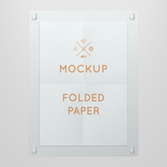 Template of folded poster in glass frame