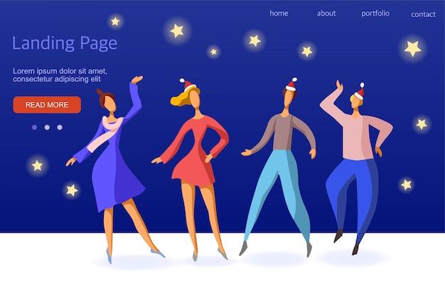 Шаблон для целевой страницы. корпоративный в офисе. друзья празднуют рождество и новый год