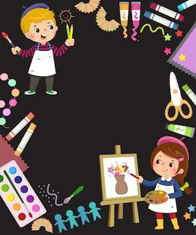 2人の子供アーティストとのアートコンセプトの広告背景のテンプレート。