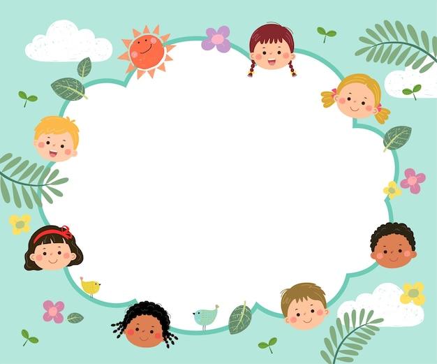 자연 개념을 가진 행복한 아이들의 만화가 있는 광고 브로셔 템플릿.