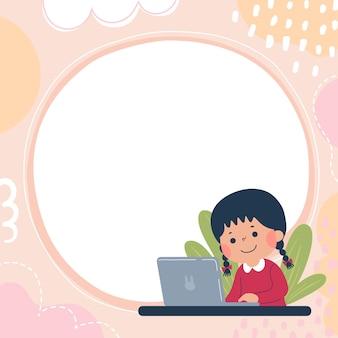 행복한 어린 소녀가 노트북으로 학습하는 광고 브로셔 템플릿