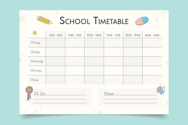 学校の時間割に戻るためのテンプレート
