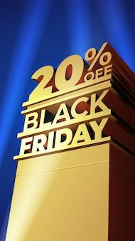 Шаблон для продажи black friday в стиле лисы 20 века с объемными буквами, зданием и точечными светильниками. скидка двадцать процентов. векторная иллюстрация для флаера, скидки, магазин, карты, промо, реклама.
