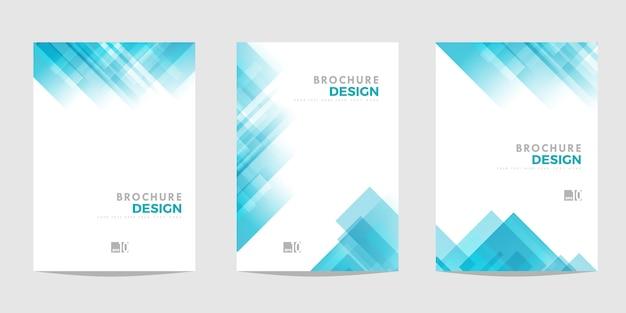 パンフレット、チラシ、またはビジネスの目的のためのdepliantのテンプレート。斜めの正方形の青い幾何学的抽象