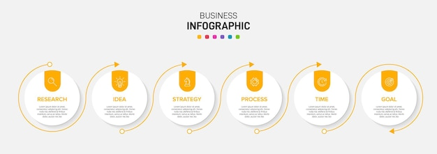 Шаблон для деловой инфографики. шесть вариантов или шагов со значками и текстом.