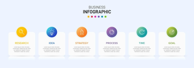ビジネスインフォグラフィックのテンプレート。アイコンとテキストを含む6つのオプションまたはステップ。
