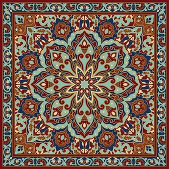 カーペットテキスタイルクッションショールのテンプレートフレーム付きオリエンタル花飾り