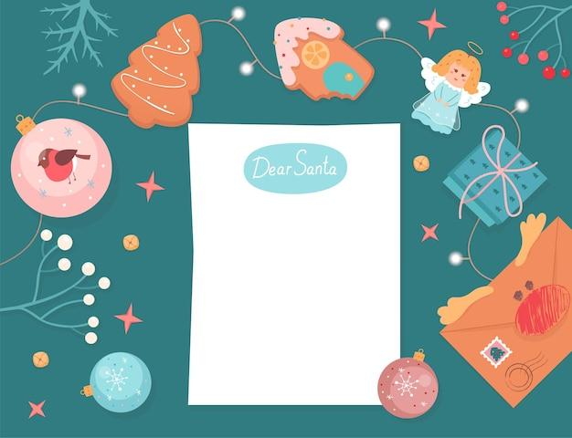Шаблон для рождественского письма санта-клаусу чистый лист бумаги с текстом дорогой санта