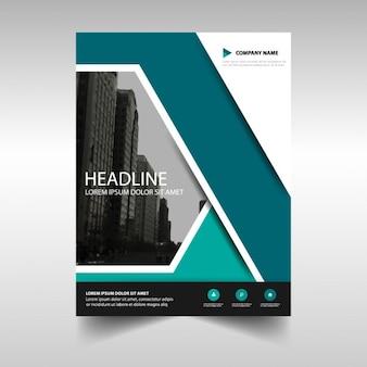 Template for dark blue geometric brochure