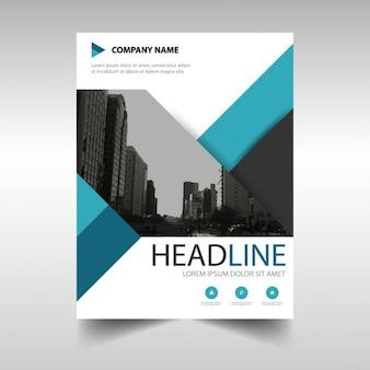 Template for geometric brochure, blue color