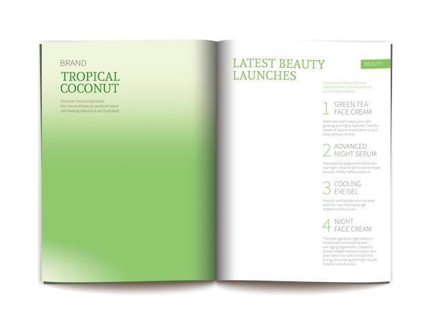 光沢のある化粧品雑誌のテンプレート。