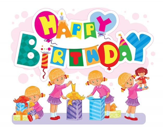 Шаблон поздравительной открытки happy birthday.