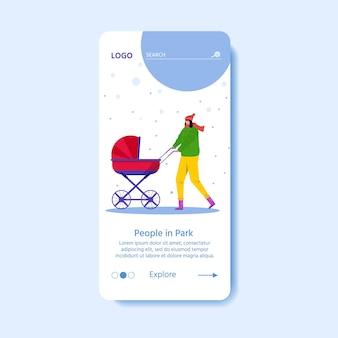 Шаблон для целевой страницы с счастливые люди гуляют на открытом воздухе в зимнем парке. женщина с детской коляской развлекается на открытом воздухе. молодая мать с ребенком на руках. векторная сезонная иллюстрация.