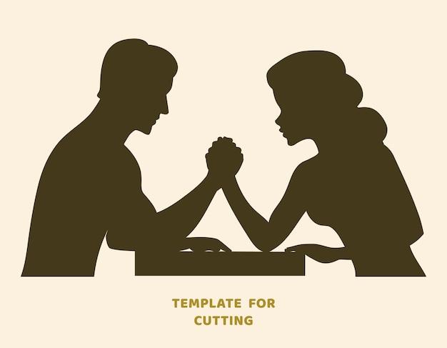 Шаблон для лазерной резки, резьбы по дереву, вырезки из бумаги. силуэты для вырезания. проблема армрестлинга между трафарет вектора молодой пары.