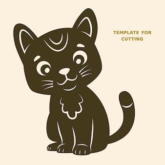 Шаблон для лазерной резки, резьбы по дереву, вырезки из бумаги. силуэты для вырезания. кошка вектор трафарет.
