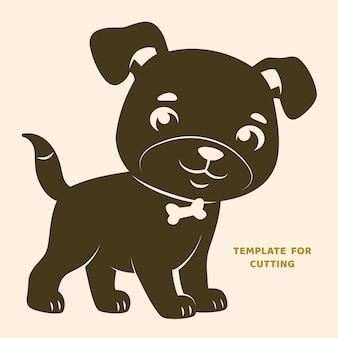 레이저 절단, 나무 조각, 종이 절단을 위한 템플릿입니다. 절단용 실루엣입니다. 개 벡터 스텐실. 프리미엄 벡터