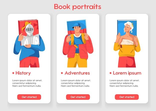 本の肖像画の概念を持つモバイルアプリページのテンプレート