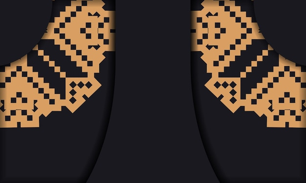 豪華なパターンでポストカードプリントデザインのテンプレート。スロベニアの装飾品とロゴとテキストの場所を含む黒いバナーテンプレート。